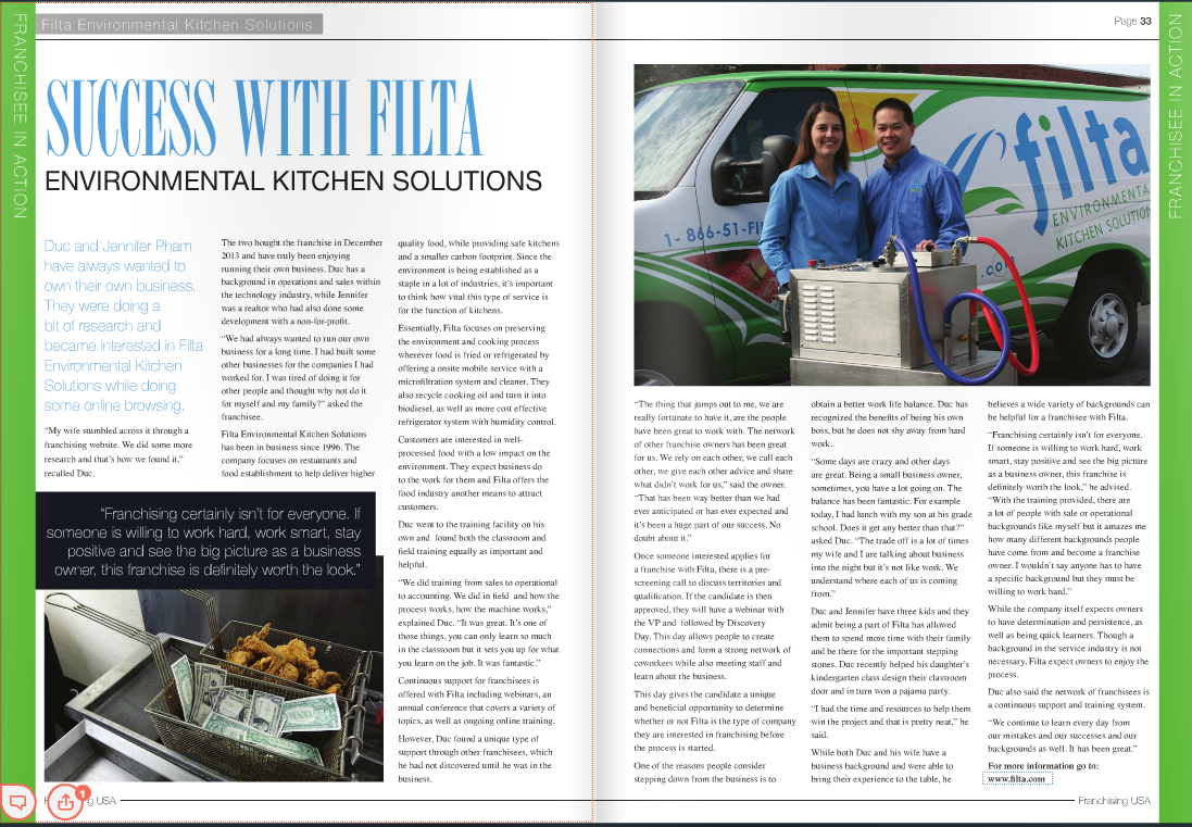 Filta Environmental Kitchen Solutions Franchising USA Magazine Feature
